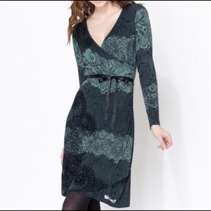 Desigual Green and Black Faux Wrap Knit Dress K104